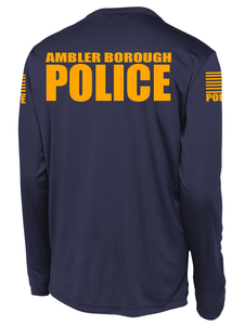 Ambler Borough Police Officer Long Sleeve Performance Shirt  | Navy and Yellow