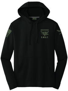 Tactical Team Performance Hooded Pullover | Black with Military Green - №365 Outfitters