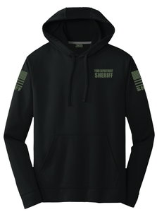 Sheriff Performance Hoodie | Black with Military Green Graphics - №365 Outfitters
