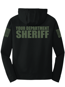 Sheriff Performance Hoodie | Black with Military Green Graphics