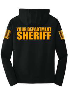 Sheriff Performance Hoodie | Black with Yellow Graphics