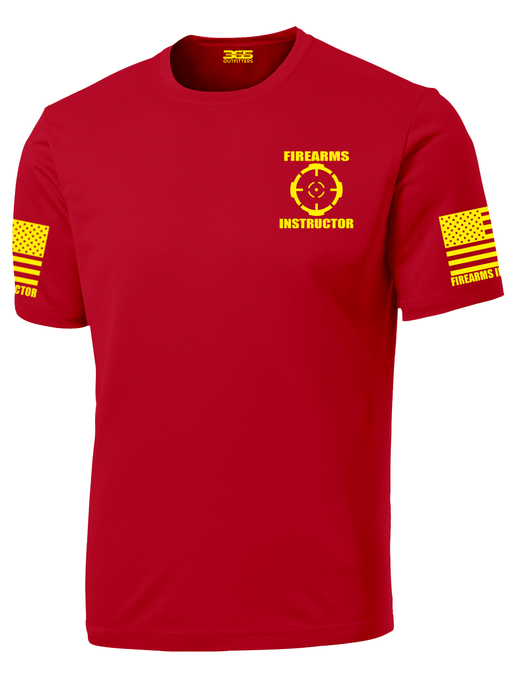 Red with Yellow Graphics Firearms Instructor Performance T-Shirt - №365 Outfitters