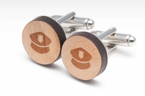 Police Cap Wood Cufflinks