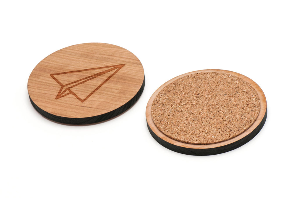 Paper Airplane Wooden Coasters Set of 4