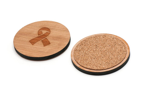 AIDS Ribbon Wooden Coasters Set of 4