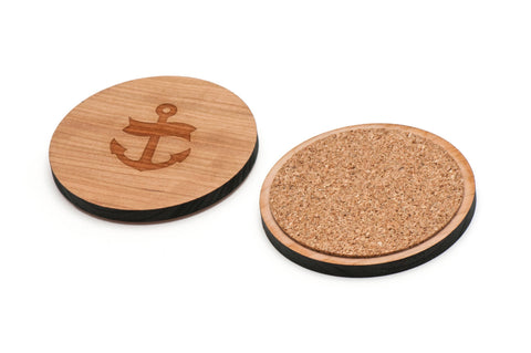 Anchor Navy Wooden Coasters Set of 4