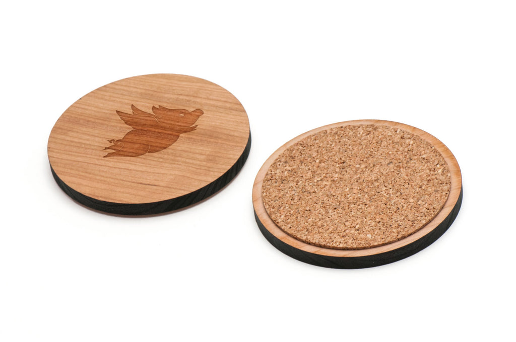 Flying Pig Wooden Coasters Set of 4