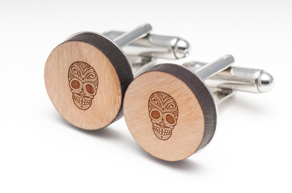Day Of The Dead Skull Wood Cufflinks