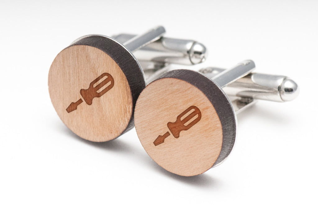 Flathead Screwdriver Wood Cufflinks