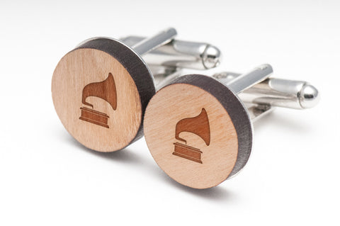Gramophone Wood Cufflinks