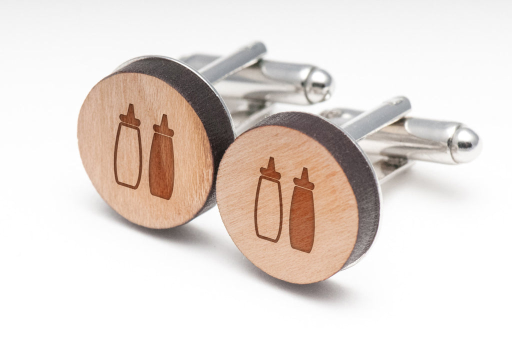 Ketchup Mustard Wood Cufflinks