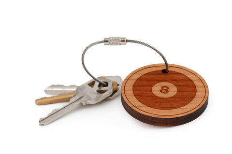 8 ball Wood Keychain