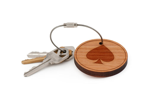 Ace Of Spades Wood Keychain