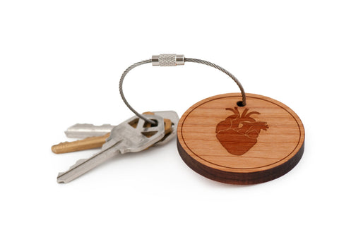 Anatomical Heart Wood Keychain