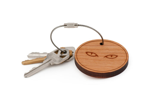 Cat Eyes Wood Keychain