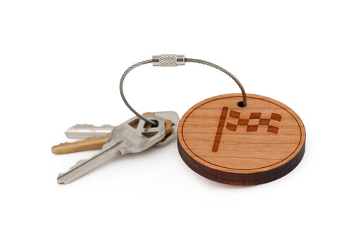 Checkered Flag Wood Keychain