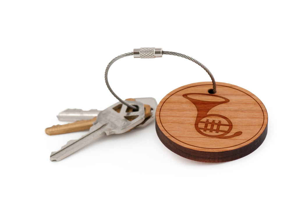 French Horn Wood Keychain