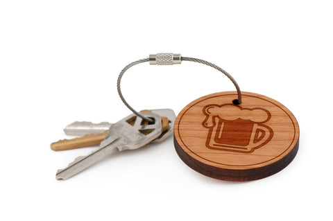 Beer Pint Wood Keychain
