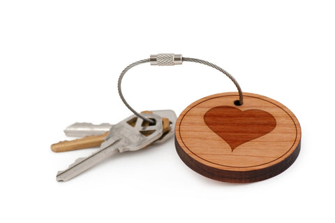 I Love You Wood Keychain