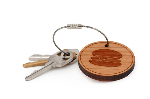 Burger Wood Keychain