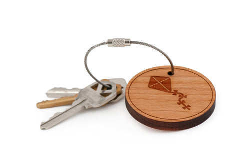 Kite Tail Wood Keychain