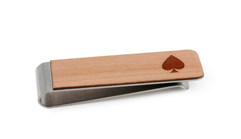 Ace Of Spades Wood Money Clip