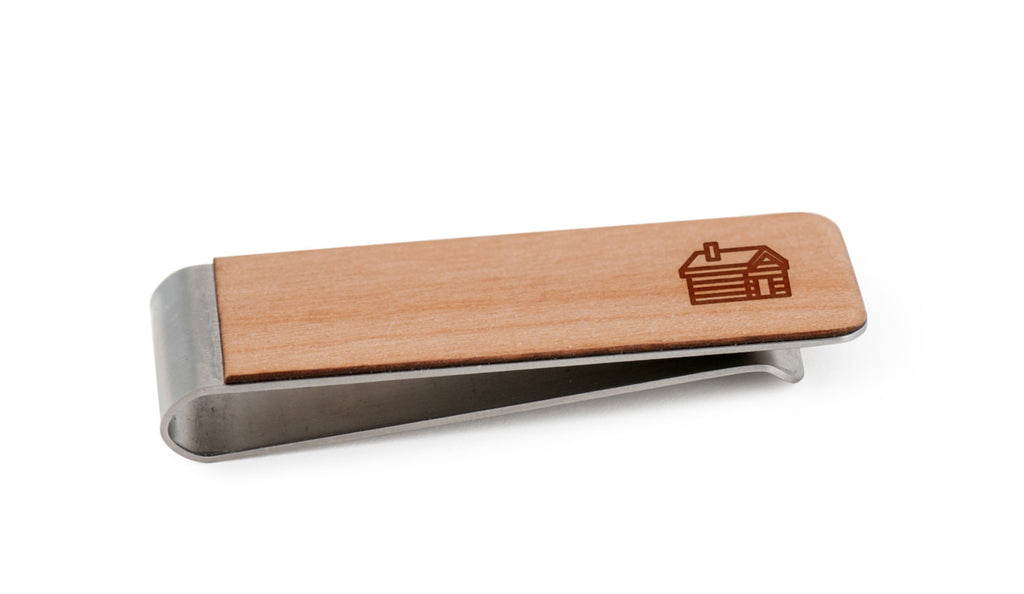 Log Cabin Wood Money Clip