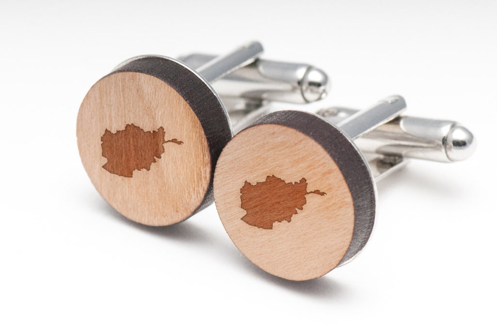 Afghanistan Wood Cufflinks