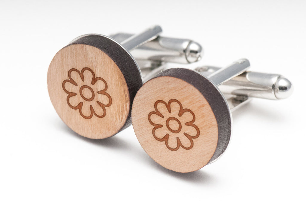 Daisy Flower Wood Cufflinks