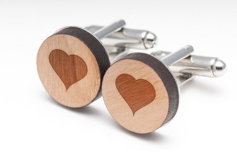 I Love You Wood Cufflinks