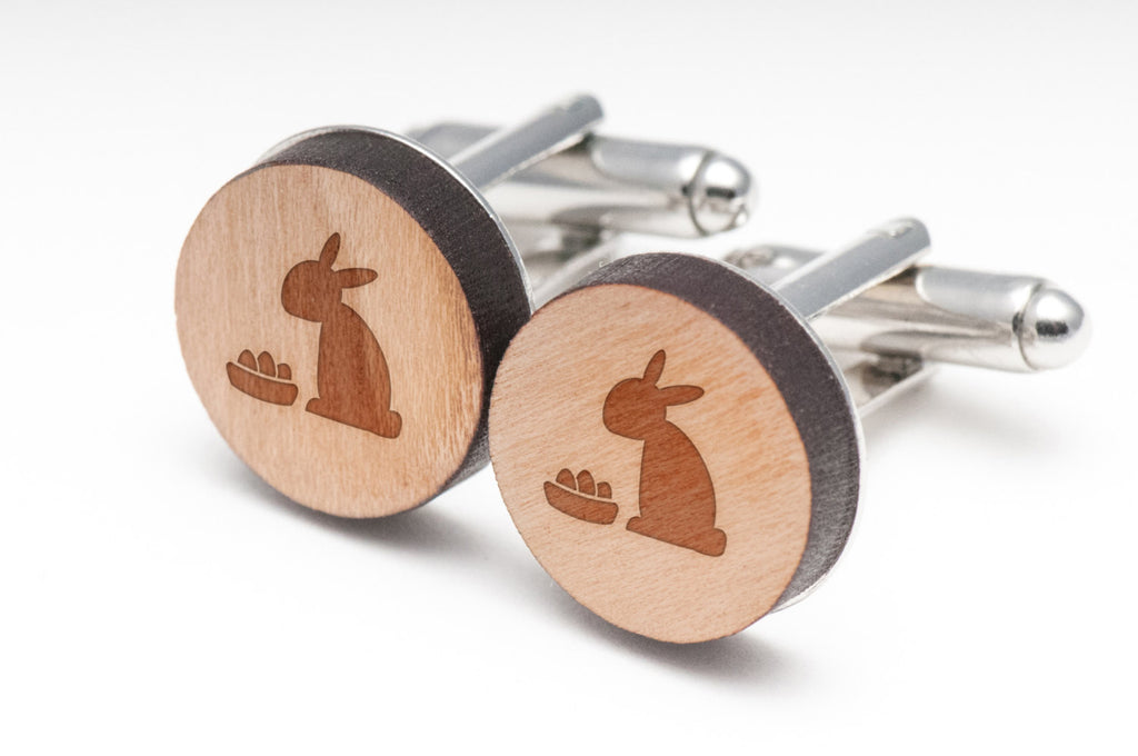 Easter Bunny Wood Cufflinks