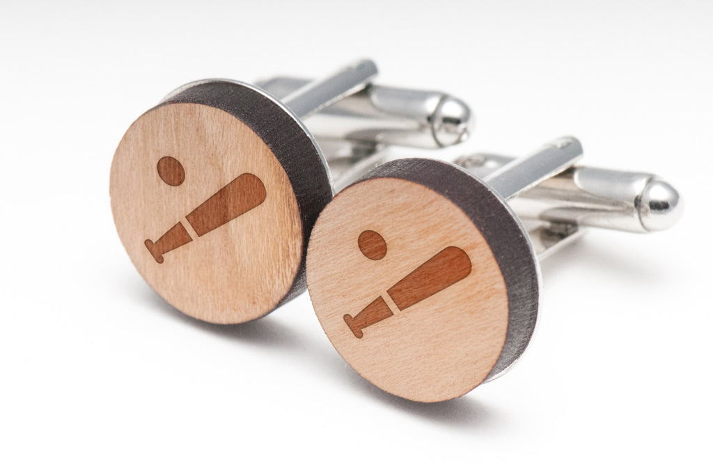 Baseball Wood Cufflinks