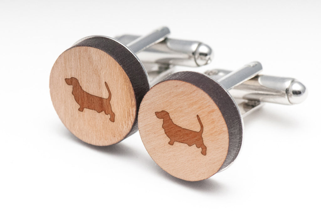 Basset Hound Wood Cufflinks