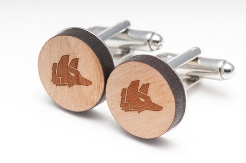 Fox Head Wood Cufflinks