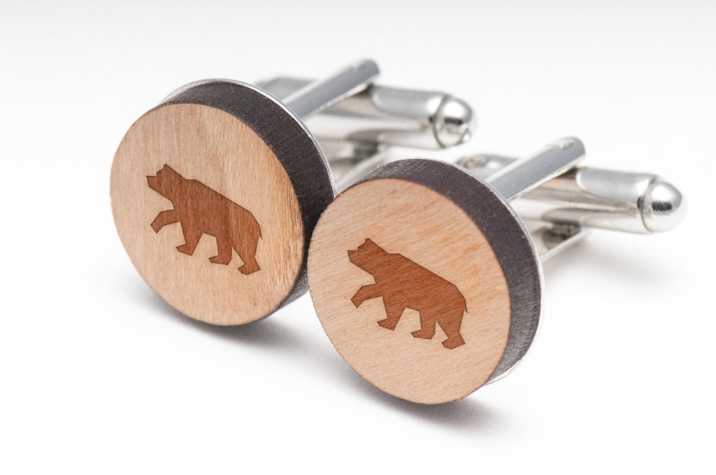 Brown Bear Wood Cufflinks