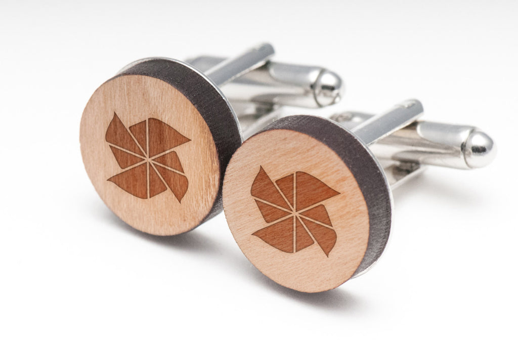 Pinwheel Wood Cufflinks