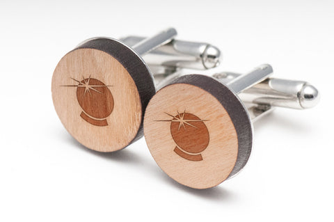 Crystal Ball Wood Cufflinks