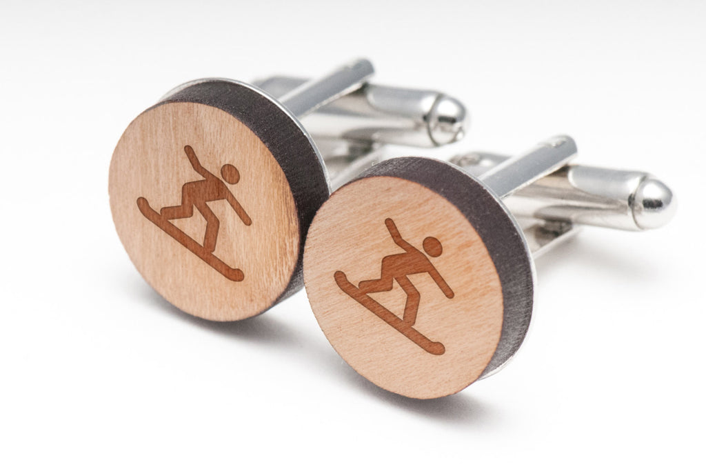 Snowboarder Wood Cufflinks