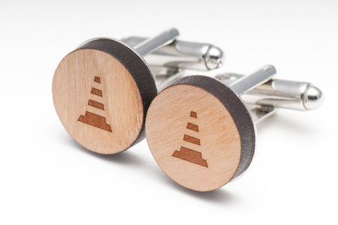 Traffic Cone Wood Cufflinks
