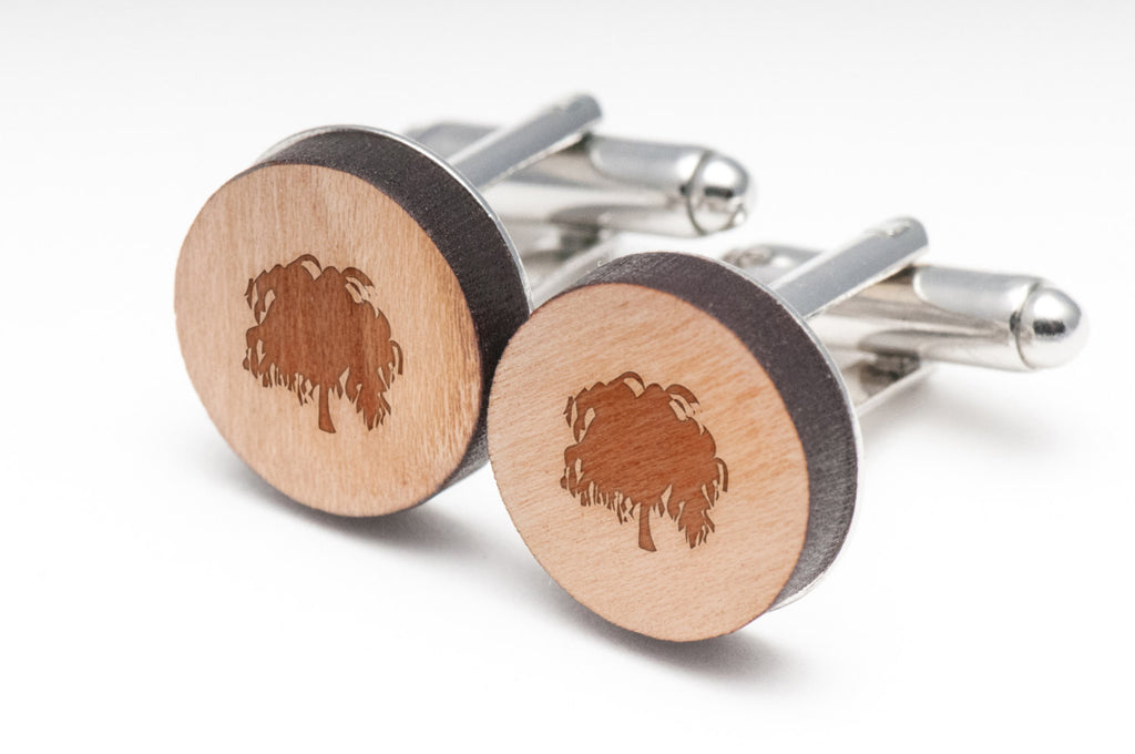 Weeping Willow Wood Cufflinks