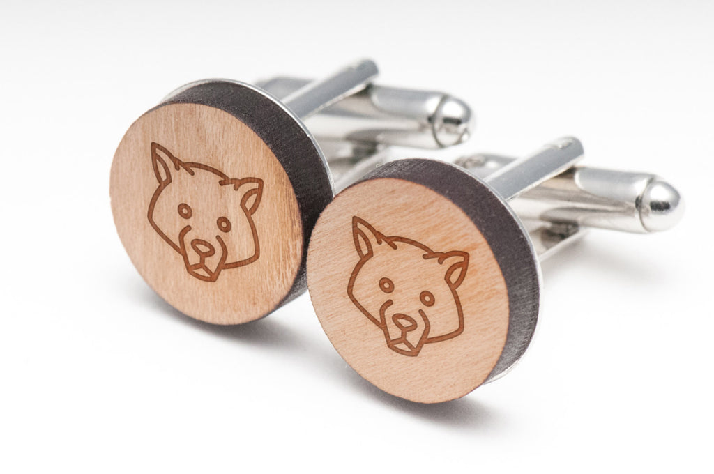 Wolf Eyes Wood Cufflinks