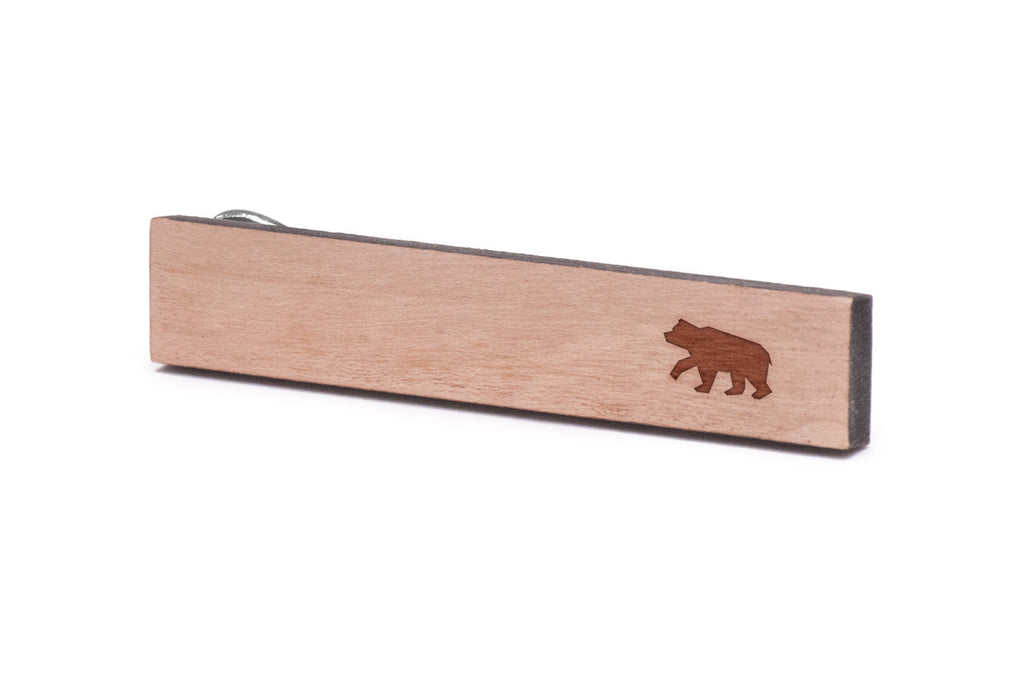 brown bear Wood Tie Clip
