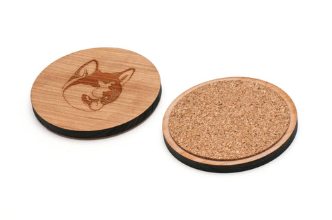 Akita Wooden Coasters Set of 4