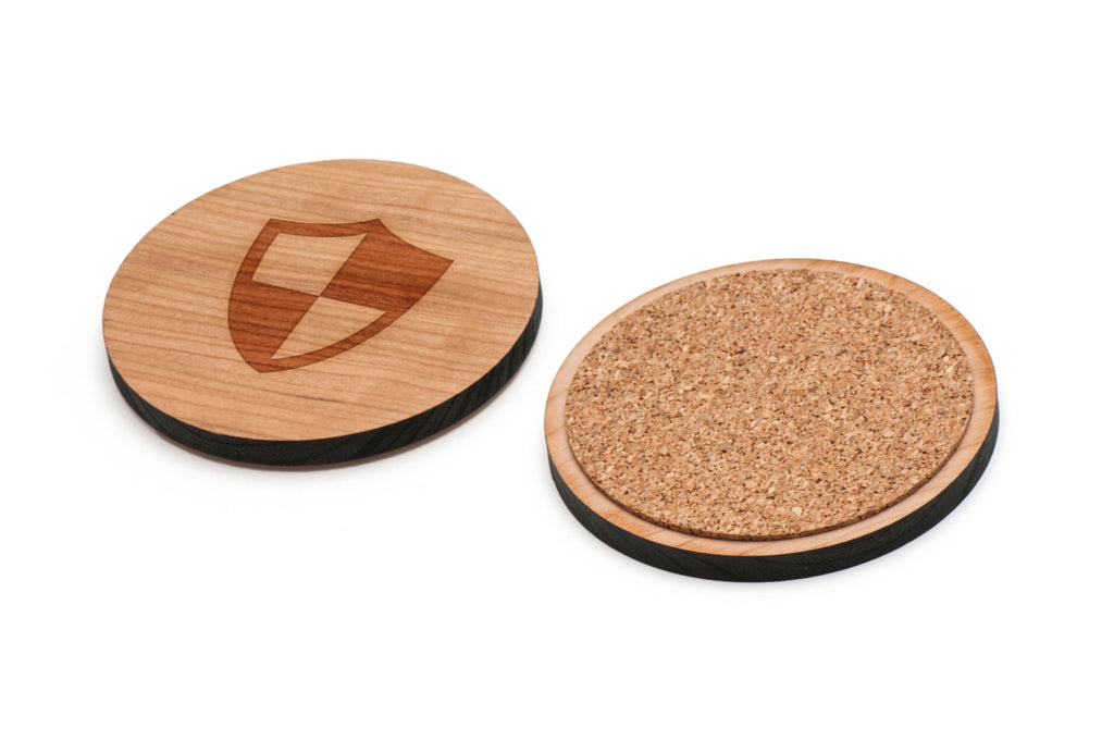 Shield Wooden Coasters Set of 4