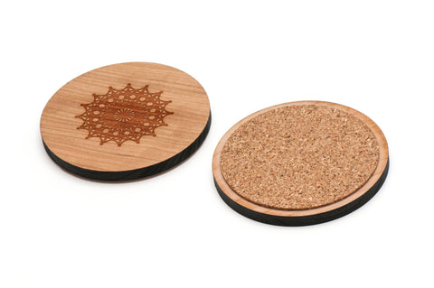 Crochet Wooden Coasters Set of 4