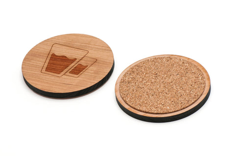 Glasses Wooden Coasters Set of 4