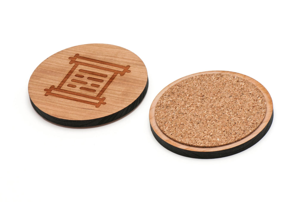 Scroll Wooden Coasters Set of 4