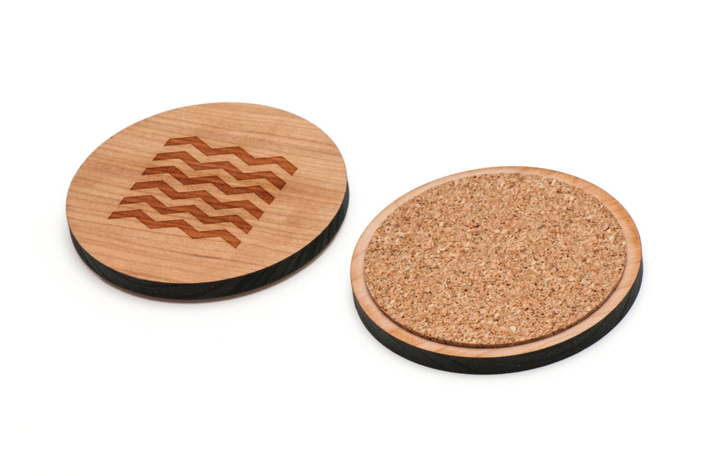 Zigzag Wooden Coasters Set of 4