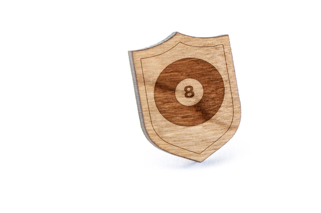 8 ball Wood Lapel Pin