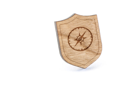 Compass Dial Wood Lapel Pin
